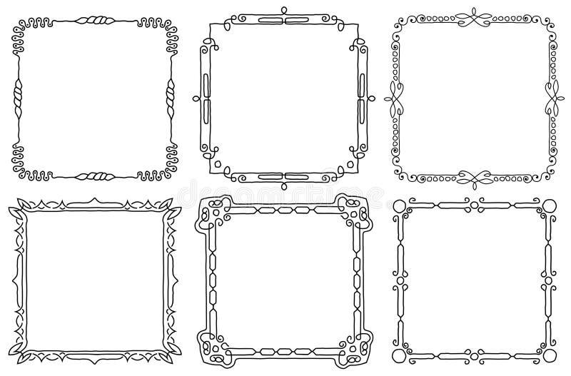 dekorativa ramar st?llde in tappning Hand-dragen illustration p? vit bakgrund vektor illustrationer