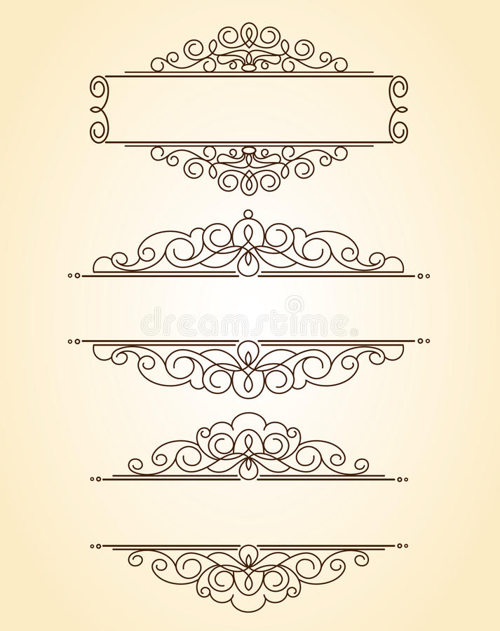 dekorativa ramar Tappning Brunn som byggs för lätt redigera royaltyfri illustrationer
