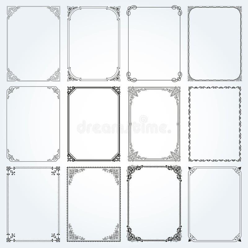 Dekorativa rektangelramar och gränser ställde in vektorn stock illustrationer