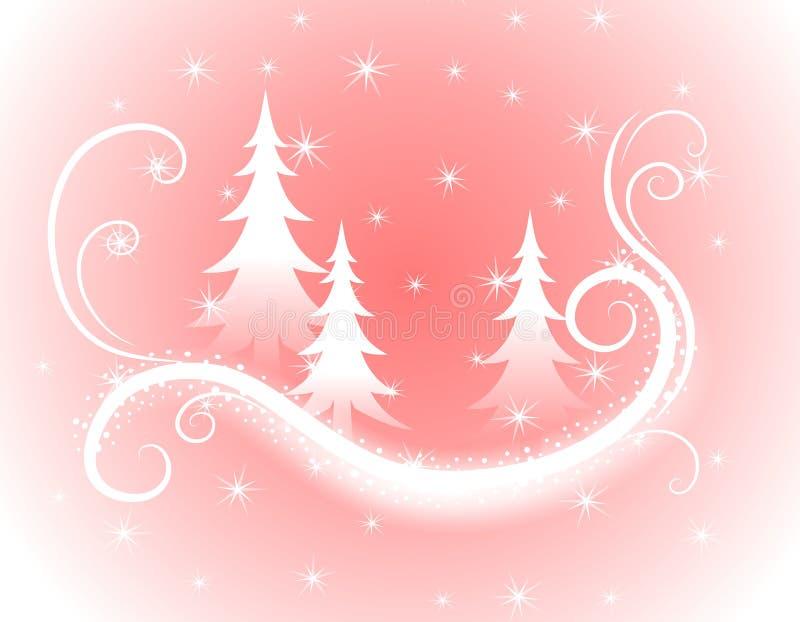 dekorativa rosa trees för bakgrundsjul vektor illustrationer