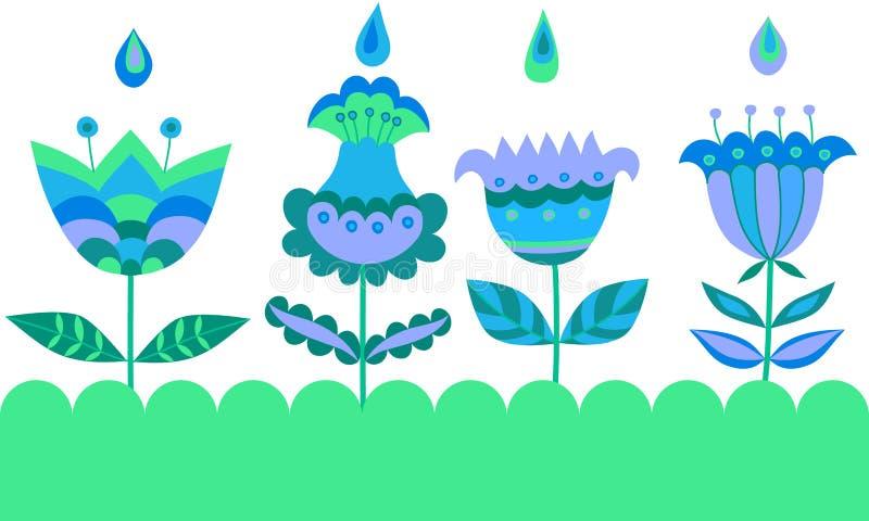 Dekorativa sömlösa blom- beståndsdelar royaltyfri illustrationer