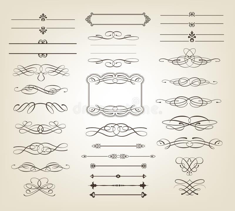 dekorativa scrolls för baner stock illustrationer