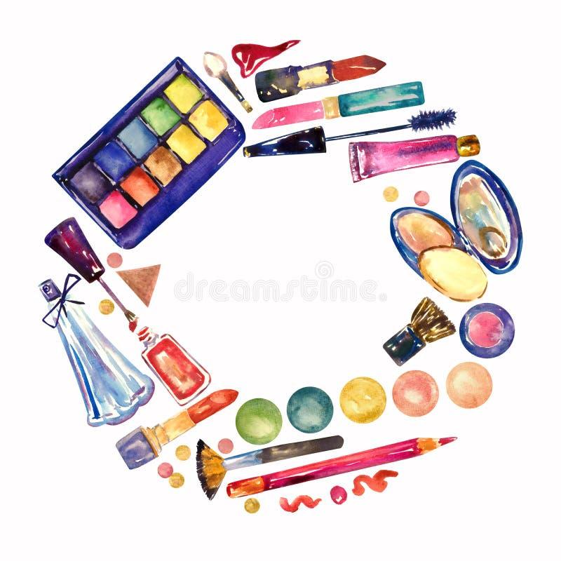 Dekorativa skönhetsmedel, sminkmaterialsamling, hand målad vattenfärgillustration, rund ramdesign vektor illustrationer