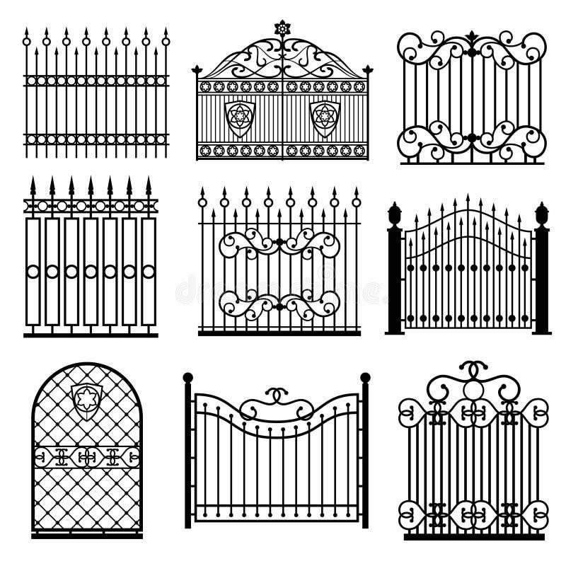 Dekorativa svarta konturer av staket med portvektorn ställde in stock illustrationer