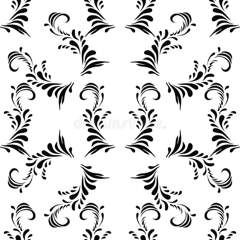 Dekorativa svarta sömlösa damastprydnader för tappning vektor illustrationer