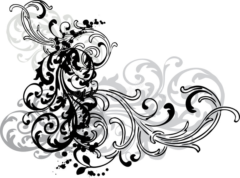 dekorativa swirls stock illustrationer