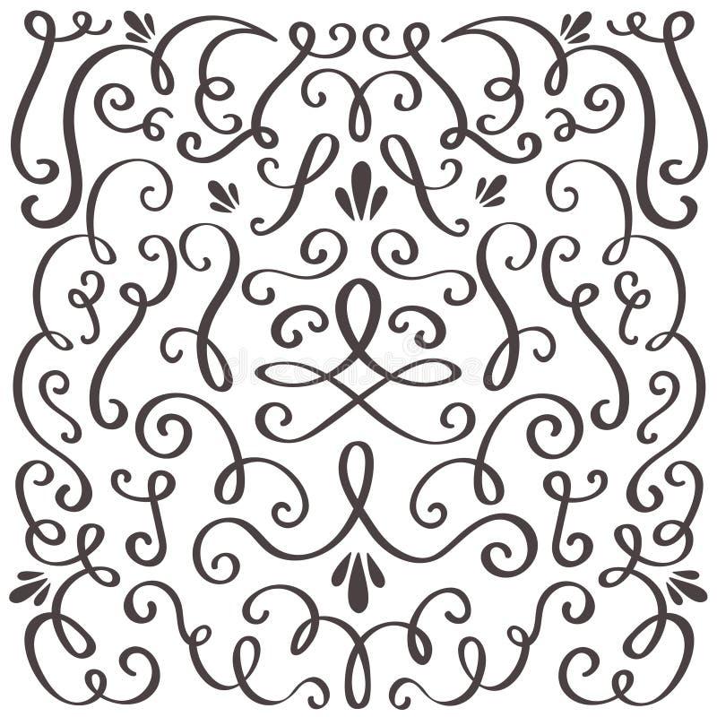 dekorativa swirls Virvlad runt tappningprydnad, virvlande runt gräns och enkel ram Diagram för vektor för virvelgarneringgräns stock illustrationer