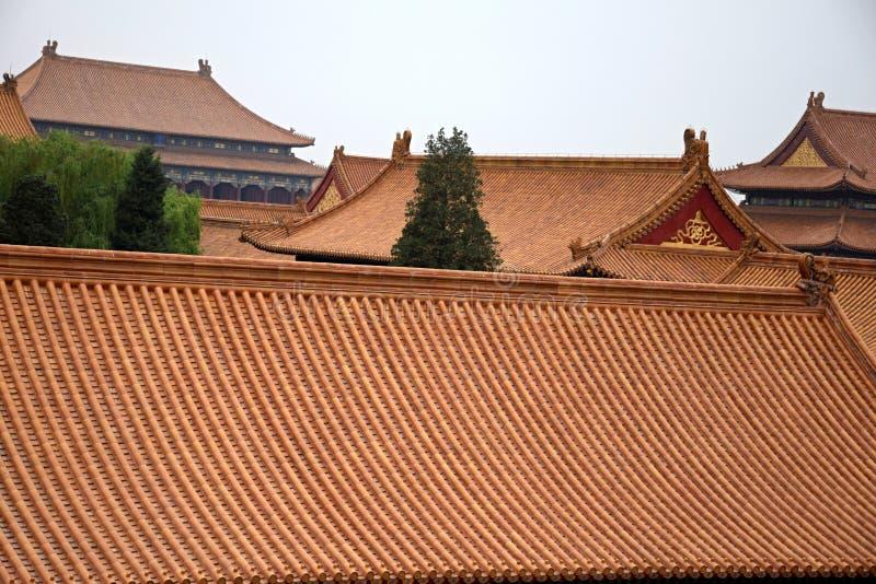 Dekorativa tak av forntida paviljonger i Forbidden City i Peking, Kina arkivfoton