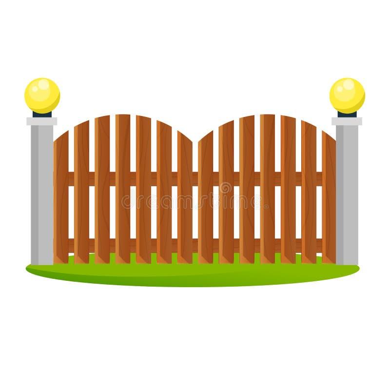 Dekorativa trästaket Yttersida, design av portar och omgeende område stock illustrationer