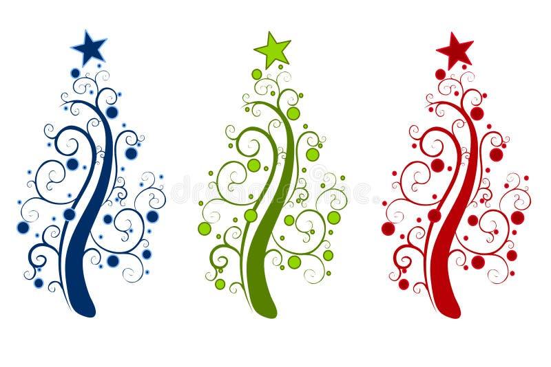 dekorativa trees för abstrakt jul royaltyfri illustrationer