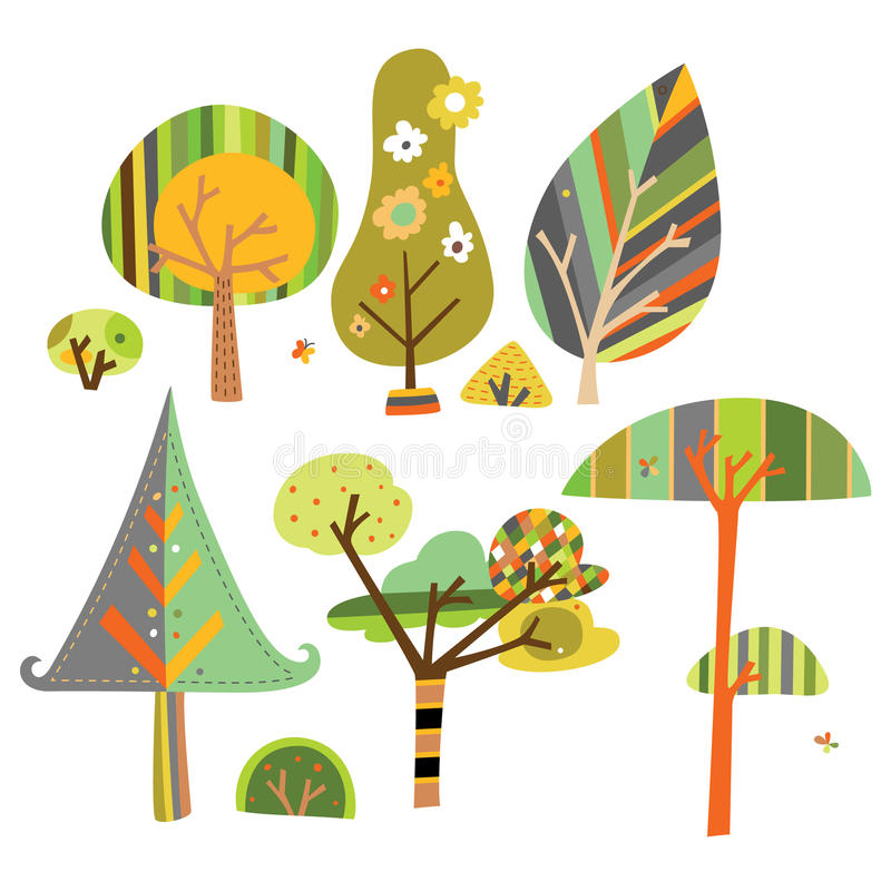 dekorativa trees för samling stock illustrationer