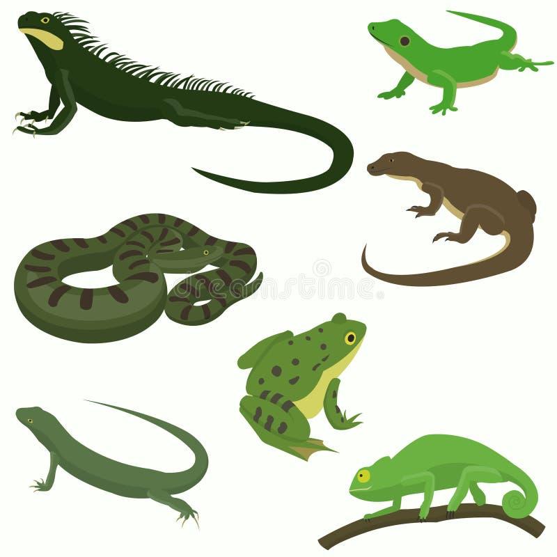 Dekorativa uppsättningsymboler för reptilar och för amfibier royaltyfri illustrationer