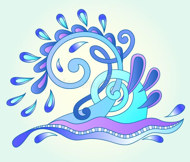 Dekorativa vatten- blått vinkar med gnistor och droppar stock illustrationer