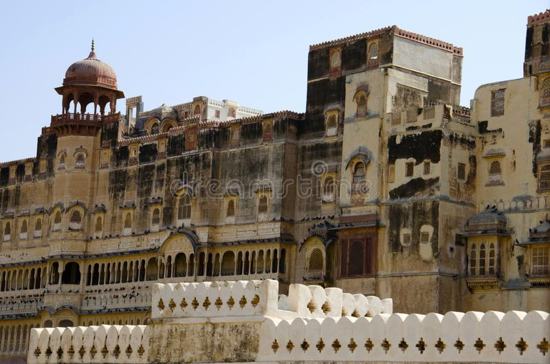 Dekorative äußere Wand von Junagarh-Fort, Bikaner, Rajasthan, Indien stockfotos