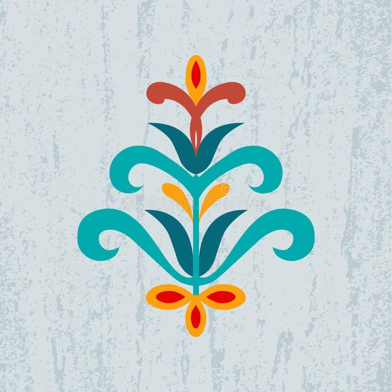 Dekorative abstrakte Blumenverzierung auf Schmutzhintergrund stock abbildung