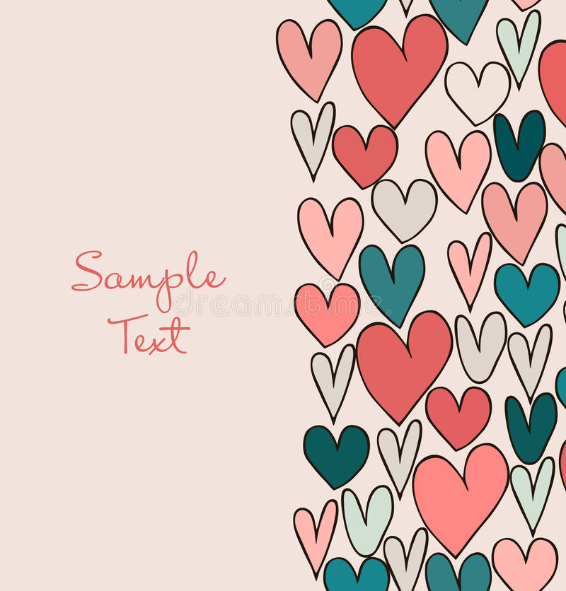 Dekorative abstrakte Liebesgrenze Nette Karikaturfahne mit Hand gezeichneten Herzen Grafikdesign für Karten, Handwerk, Geschenke vektor abbildung