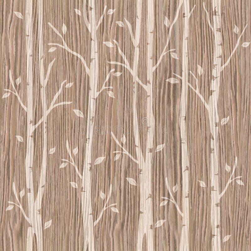 Dekorative Bäume auf nahtlosem Hintergrund - gesprengte Eichen-Nut stock abbildung