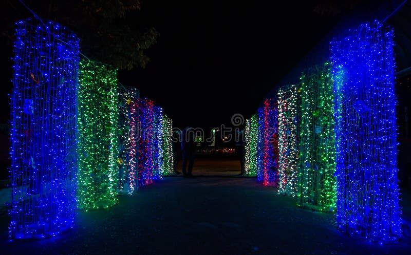 Dekorative Beleuchtung in den fröhlichen cristmas lizenzfreie stockbilder