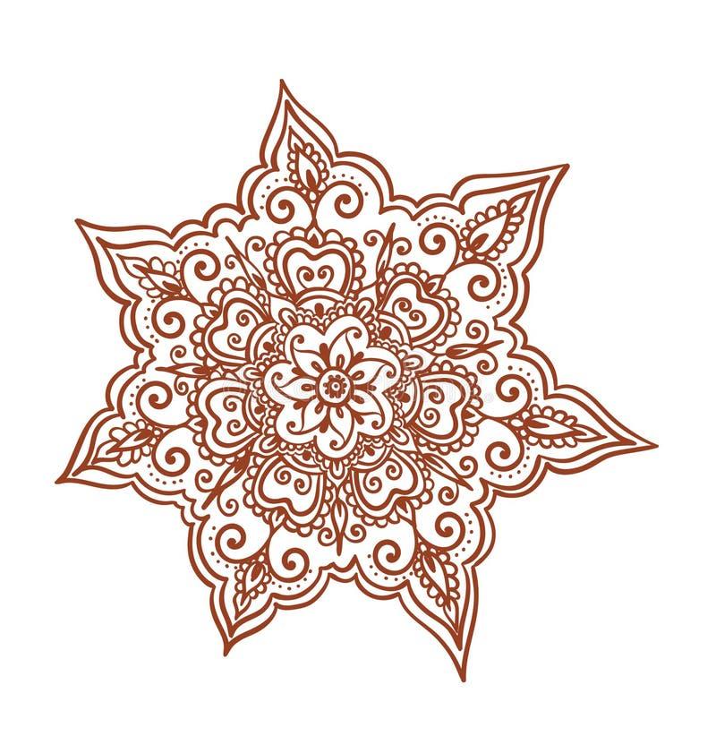 Dekorative Blume - dekorative indische Hennastrauchverzierung Mendi-Arabervektor stock abbildung
