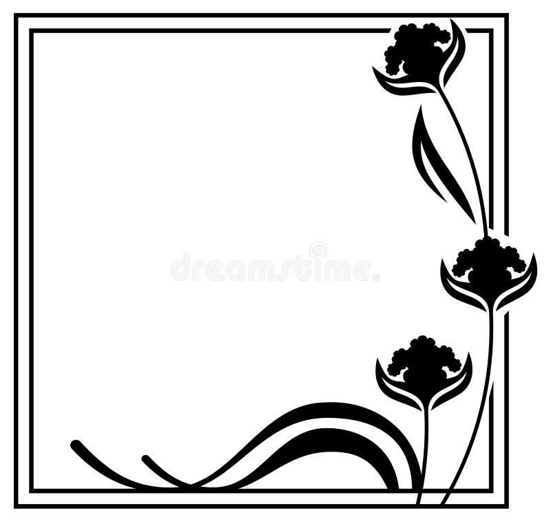 Dekorative Blumen Des Schwarzweiss-Rahmenentwurfs Stock Abbildung ...