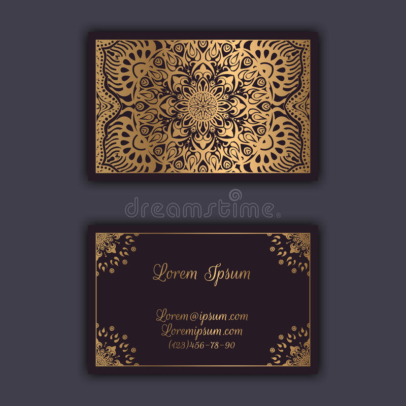 Dekorative Blumenvisitenkarten Dekorative Elemente der Weinlese lizenzfreie abbildung
