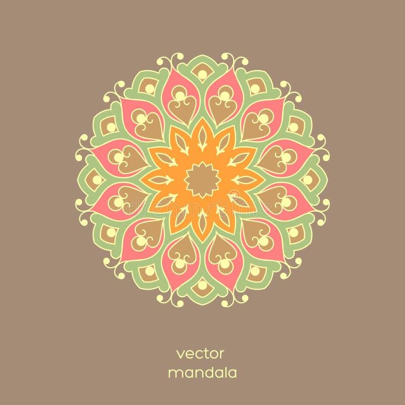 Dekorative bunte Blumen- Mandala auf hellbraunem Farbe-backgrou lizenzfreie abbildung