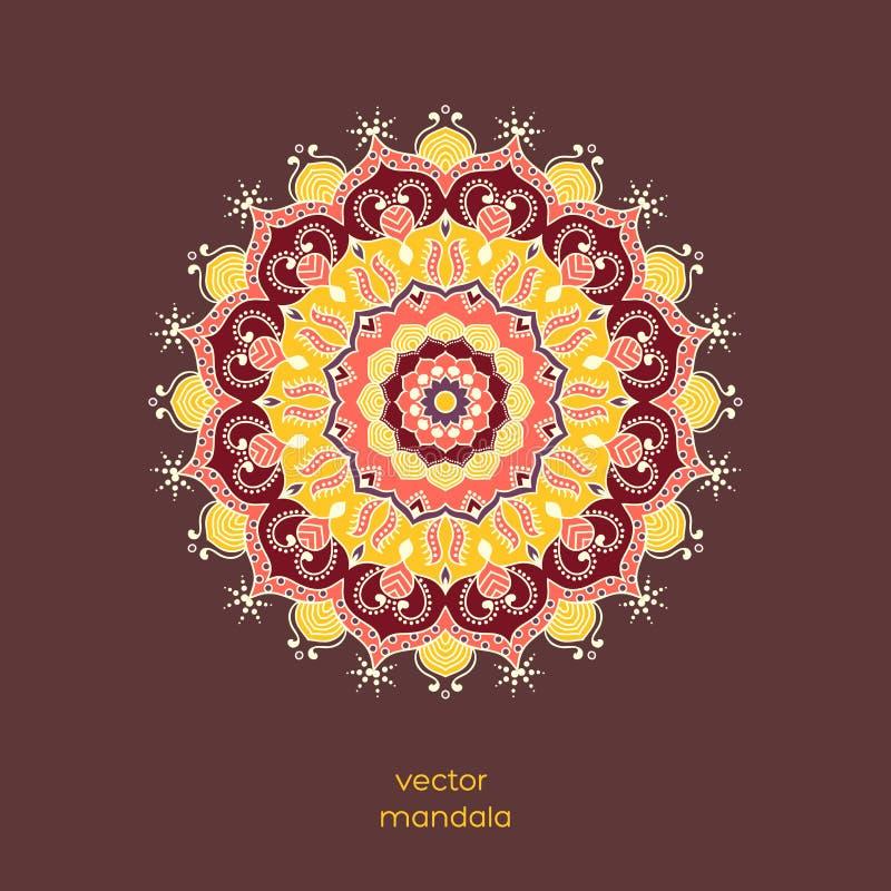 Dekorative bunte Blumenmandala, Hand gezeichneter geometrischer Rüttler stock abbildung