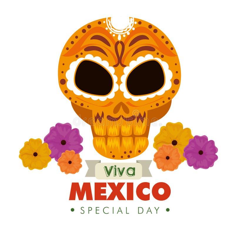Dekorative Dekoration des Schädels mit Blumen zu Mexiko-Ereignis vektor abbildung