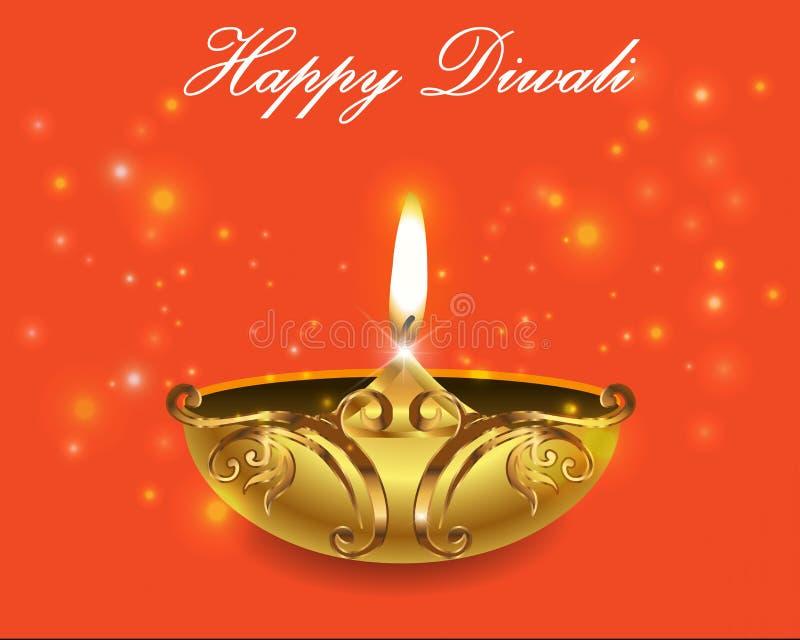 Dekorative Diwali-Lampen, glückliche diwali Grußkarte stock abbildung
