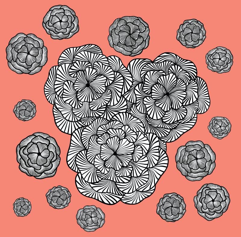 Dekorative einfarbige Blumen auf einem korallenroten Hintergrund lizenzfreie abbildung