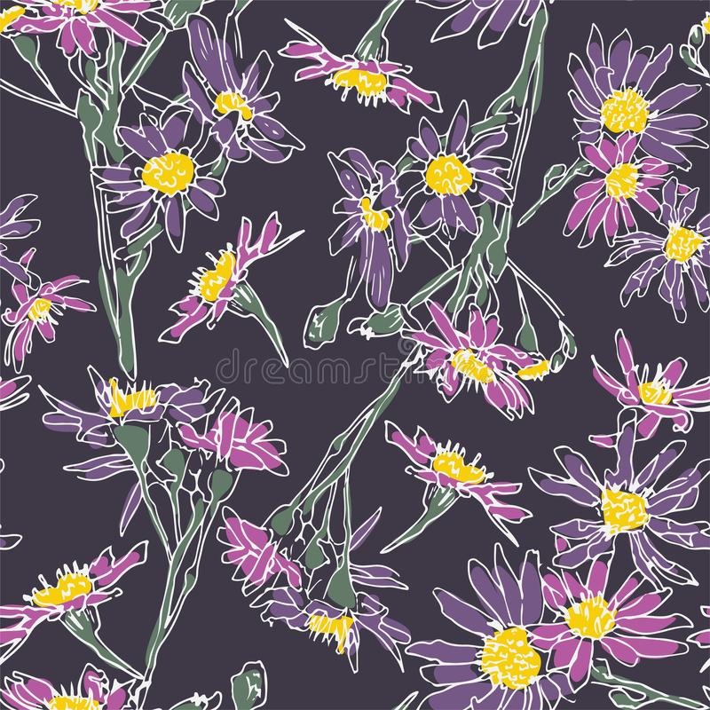 Dekorative, elegante Blumentapete Nahtlose Vektorwiederholblütenmuster Vector wiederholt Elemente Hintergrund mit mehrfarbigem Le lizenzfreie abbildung