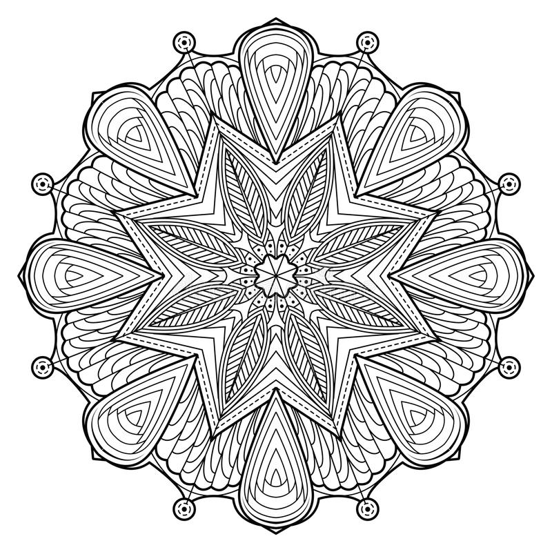 Dekorative Elemente Blumen-Mandala Vintages stock abbildung