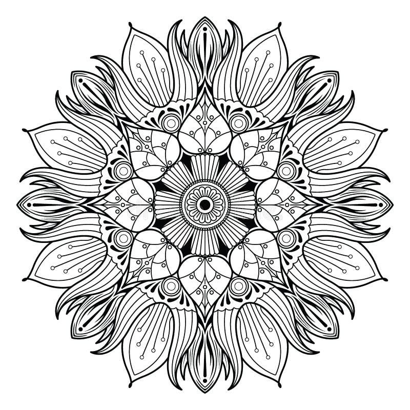 Dekorative Elemente Blumen-Mandala Vintages lizenzfreie abbildung