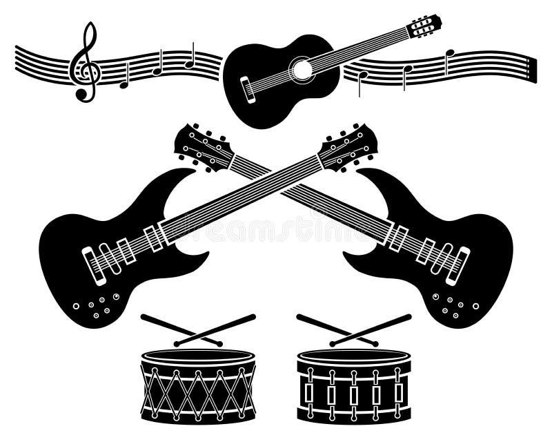 Dekorative Elemente - Musikinstrumente stock abbildung