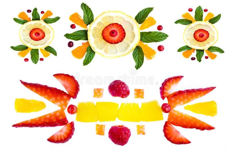 Dekorative Elemente von der Frucht stockbilder