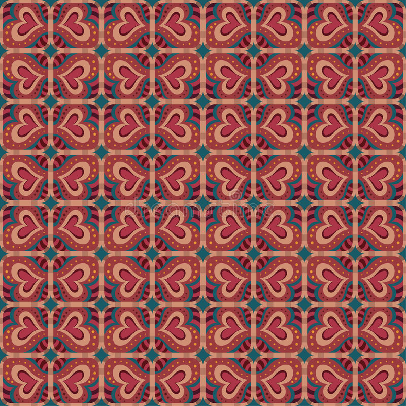 Dekorative ethnische abstrakte Liebe, Herz, Blumenmuster. Vektor stock abbildung