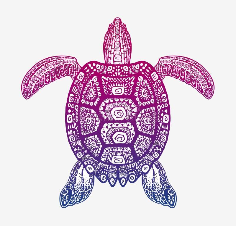 Dekorative ethnische Schildkröte mit dekorativem Muster Stammes- Totemtier des Vektors lizenzfreie abbildung