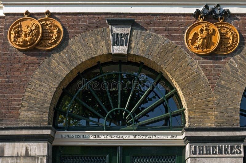 Dekorative Fassade ehemaliger Henkes-Fabrik stockbilder