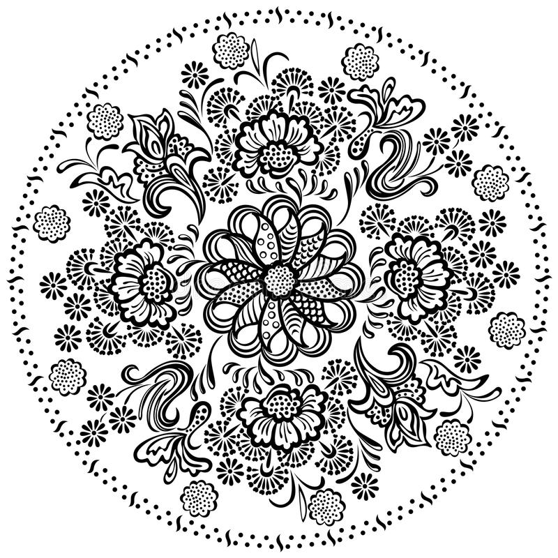 Dekorative Florenelemente des Mandalamusters lizenzfreie abbildung