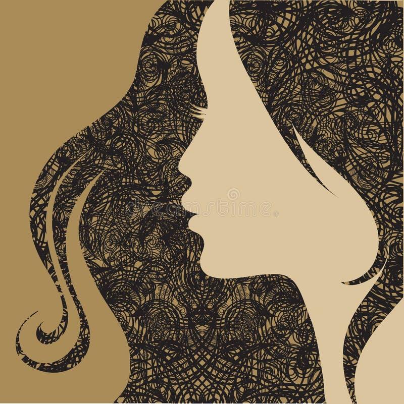 Dekorative Frau grunge Weinlese der vektornahaufnahme lizenzfreie abbildung
