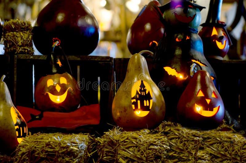 Dekorative getrocknete Kürbisse für Halloween stockfotografie