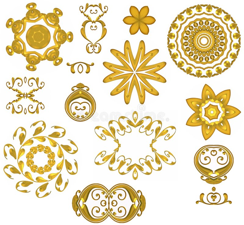 Dekorative Goldweb-Ikonen vektor abbildung