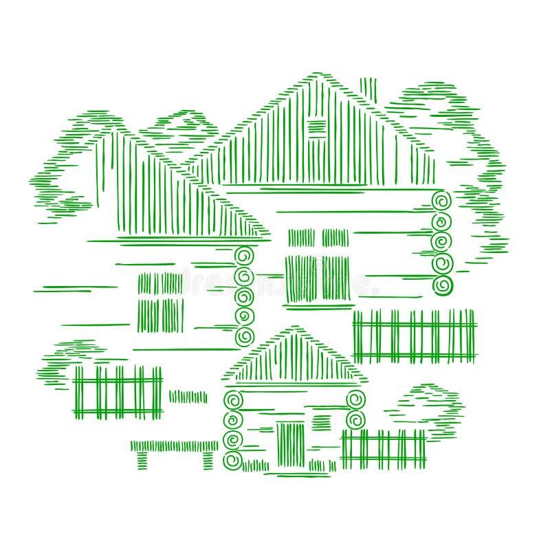 Dekorative grafische Zusammensetzung des Vektors mit drei Holzhäusern Das Konzept cological traditionellen Baus e lizenzfreie abbildung