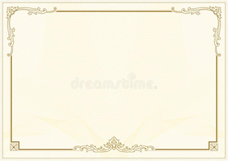 Dekorative Grenz- und Rahmenschablone in der quadratischen Form, im Weinleserahmenentwurf für Zertifikat-, Diplom-, Beleg- und Gr stock abbildung