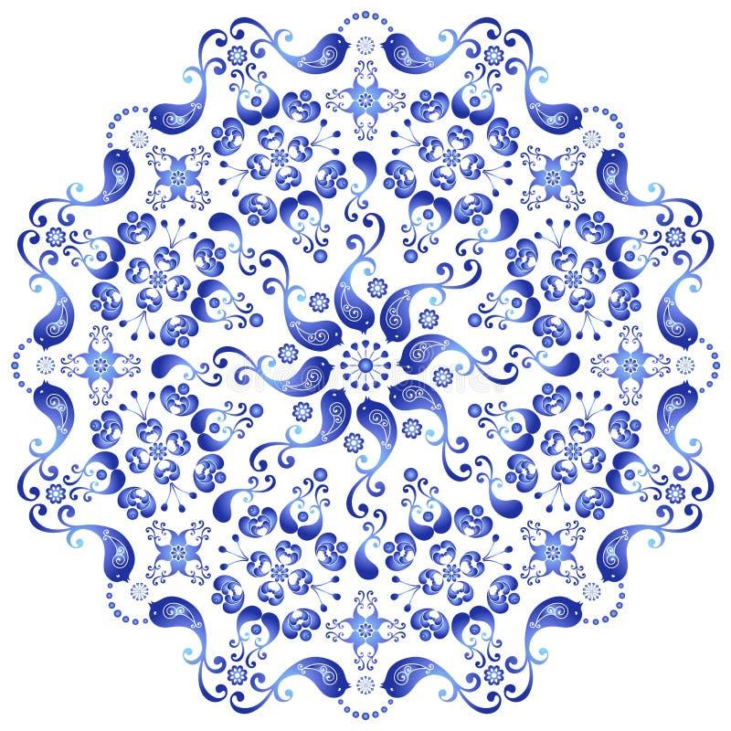 Dekorative gzhel Platte stock abbildung