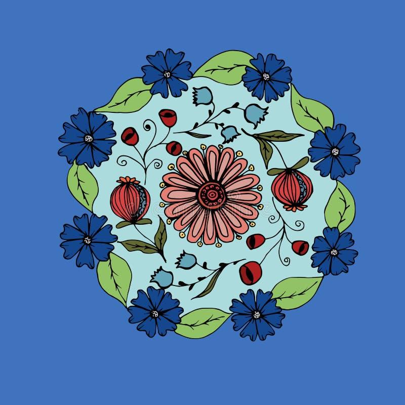 Dekorative Hand gezeichnete Mandala mit verschiedenen Blumen, Anti-stres stock abbildung