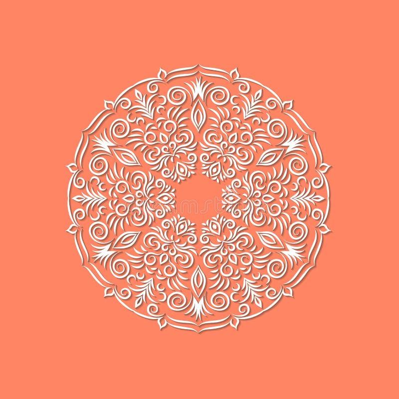 Dekorative Hand gezeichnete orientalische Mandala der Blume auf rote Farbe-backg stock abbildung