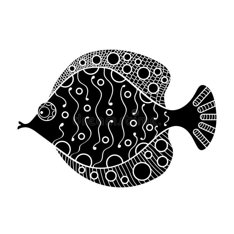 Dekorative Handgezogene Illustration eines Goldfisches mit Mustern Kreise, Linien, Squiggles vektor abbildung