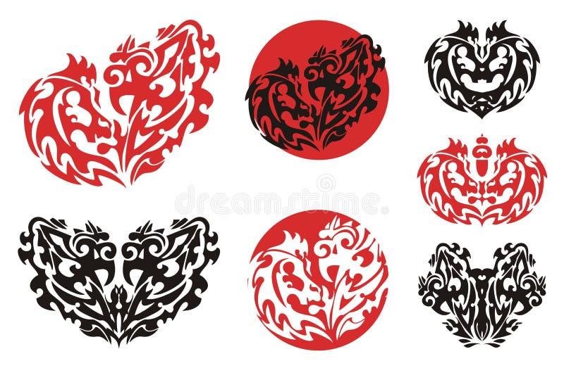 Dekorative Herzen und Kreise stock abbildung