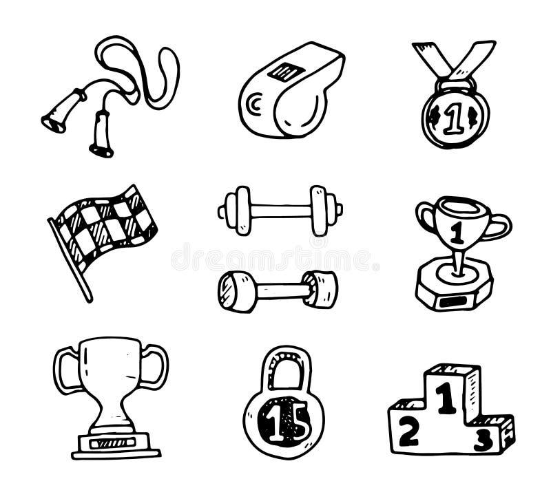 Dekorative Ikonen der Eignungsbodybuildingdiätsportübungs-Skizze vektor abbildung